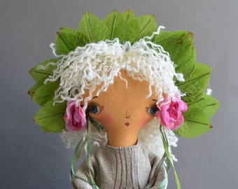 Pixie elf doll - Woodland  girl - Handmade doll - Textile toy - Exrime primitive - Fantasy doll - Cloth doll - White hair.