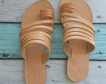 MINOAN WOMEN Sandals from Greece, Natural Leather Sandals with Many Straps, Boho Hippie Style Leather Sandals, Enotia Sandals