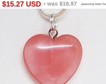 10% OFF Cherry, Quartz, Heart, Pendant, Gemstone, Crystal, Necklace