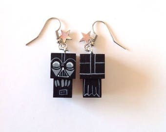 "Earrings Wooden Dolls ""Hulk""- Hand-made"