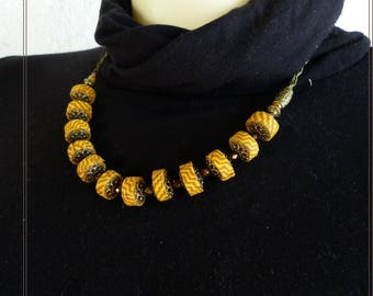 The textile Choker necklace mustard yellow and Brown