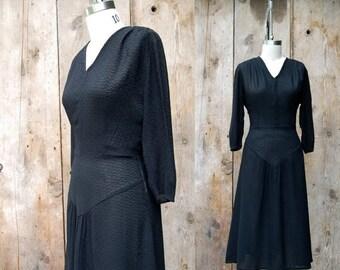 25% OFF ON SALE - c. 1940s black dress + vintage 40s black crepe dress + vintage 1940s day dress
