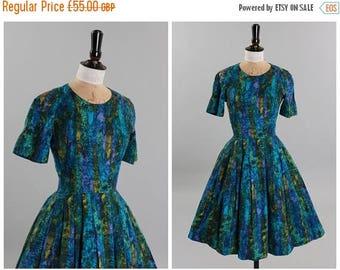 ON SALE Vintage original 1950s 50s vibrant blue and green stripe cotton dress UK 8 Us 4 Xs S