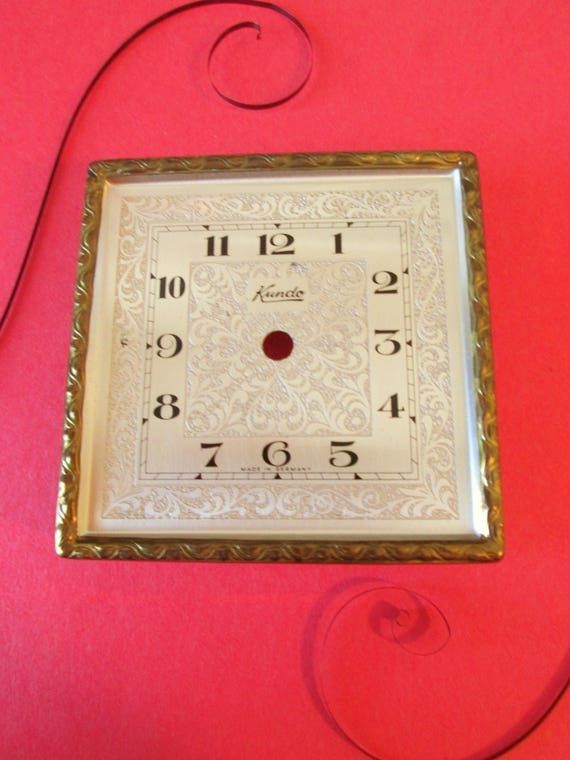 "1 Vintage German Kundo 3 1/8"" x 3 1/8"" Brass Plated Anniversary Clock Dial and Bezel for your Clock Projects"
