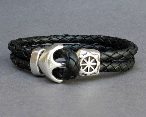 Leather Braided Bracelet Anchor Bracelet Mens Leather bracelet Cuff Sailing Bracelet Customized On Your Wrist.