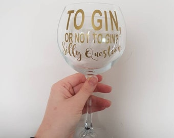 Gin Glass, Gin and Tonic, Balloon Glass, Gin Gift, Gin Lover, Personalised Gin Glass