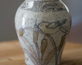 Studio Pottery Vase with Bird Cattails