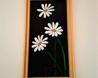 White Daisies Art, Unique Stained Glass Flower Mosaic Picture, Everlasting Flowers, Springtime Decor,Beautiful Mosaic Art,Creative Gift Idea