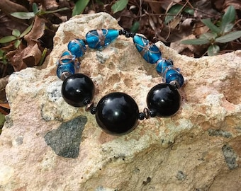 Blue and Black Mixed Beaded Bracelet