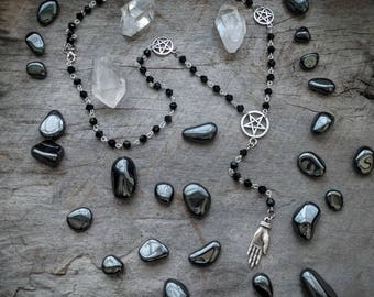 Left Hand Path - Rosary - Necklace - Occult - Goth - Dark - Witchy - Pentagram - Pentacle - 666 - Black Metal - Handmade Jewelry -Oddities