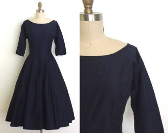 vintage 1950s dress | 50s navy evening dress