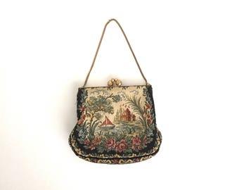 vintage 1930s purse | 30s nautical petit point purse