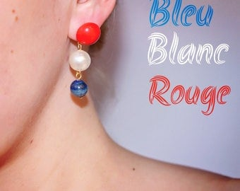 Lengthh earrings red white blue