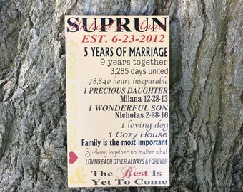 5th Anniversary Gift for Her, CUSTOM Our Love Story Sign, PERSONALIZED Fifth Anniversary Gift for Him, Wood Anniversary Gift Love Story Sign