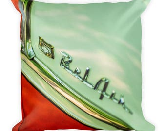 Square Pillow - Red Silo Original Art - Chevy Bel Air 1