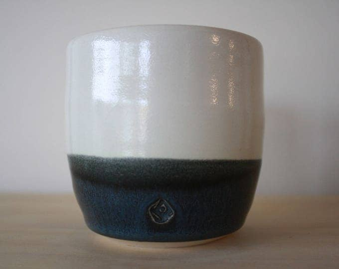 Ceramic Cup - Porcelain - Black & White - KJ Pottery