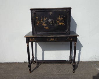Desk Secretary Writing Table Chinoiserie Asian Regency Vanity Shabby Chic Dresser Table Laptop Stand Storage Chinese Chippendale Bohemian