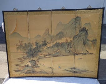 Asian Wall Panel Screen Silk Screen Headboard Chinoiserie Ming Century Vintage Chinese Chippendale Campaign Regency Hollywood Mid Century