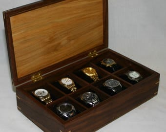 "Watch Box  -  Holds 8 watches -Brusso hinges -  includes 8ea  3"" pillows - Walnut with an ambrosia maple top #370"