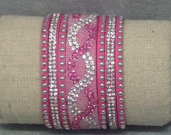 Pink fuchsia MULTISTRAND Cuff Bracelet made of suede and rhinestones