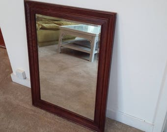 Large Vintage Oak Mirror.