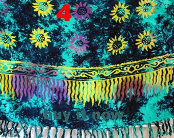SUMMER SALE Sarong Pareo Beach Cover-Up Wrap Dress Skirt Hawaiian  Flower Turquoise multicolor Color