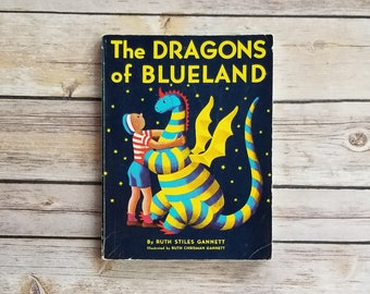 The Dragons of Blueland My Father's Dragon Ruth Stiles Gannett Dragon Story For Children Fantasy Themed Room Dragon Wall Decor Retro Vibes