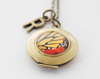 Dainty Locket, Butterfly Locket, Monarch Locket, Butterfly Necklace, Monarch Butterfly Necklace, Photo Locket, Initial necklace