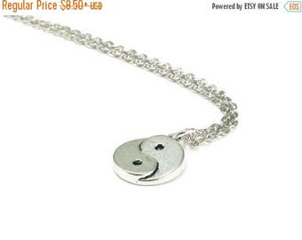SALE Yin Yang Necklace Silver Chain