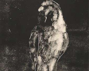 Owl, original monotype print