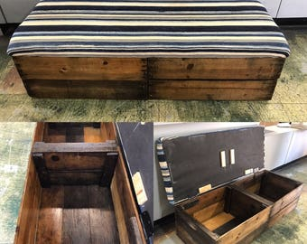upholstered storage bench refinished with hinges