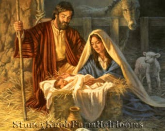 Baby Jesus in the Manger ~ The Nativity ~ Cross Stitch Pattern in Color & in BlkWht Symbols ~ Download