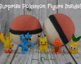 Ready To Ship! PokeBomb - Bath Bomb with Surprise Pokemon Figure Toy Inside. Raspberry Vanilla