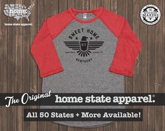 Sweet Home Raglan: Red on Grey Baseball Raglan Shirt