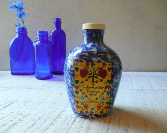 Blue Bavarian Liquor Bottle Vase– Schwarzwälder Himbeer Geist Ceramic Flask –Mountain Forest Raspberry Spirit, Folk Art Flower Vase  /0659