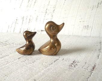 2 Miniature Brass Ducks - Vintage Duck Family Figurines / 0716