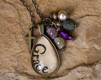 "Vintage, Bronze, ""Grace,"" teardrop necklace"