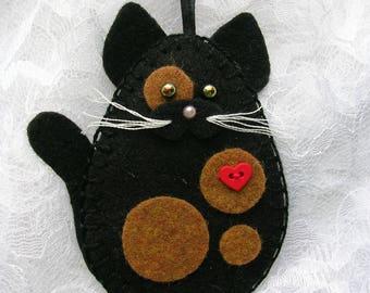 Cat Ornament, Felt Cat Ornament, Tortoiseshell Cat, Tortie Cat Ornament