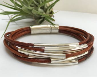 Tan Seven Strand Leather Bracelet, Antique Silver Magnetic Clasp, Leather Bangle, Unisex, Silver Tube Bead Leather Bangle
