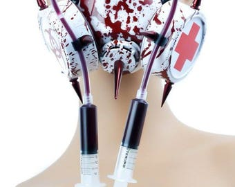 Bloody Gas Mask with full Syringes Respirator