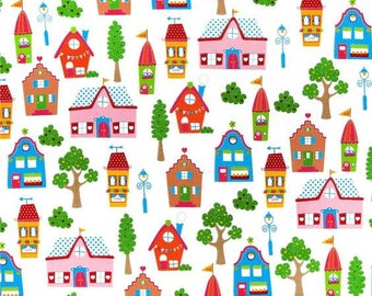 Childrens Fabric by the Yard, Cotton, Quilt, Simply Sweet, Nursery, Town, House, Large Print, Girl, Tree, Play, Mat, Novelty, Decor