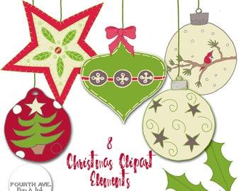 Christmas Clipart, Holiday Clipart, Christmas Ornaments, Christmas Ball Clipart, Hand Drawn, DIY Invitation, DIY Christmas Card, Clip Art