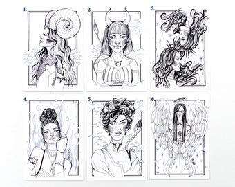 Zodiac Sign Art Print / Art Print / Star Signs / Ink Drawing