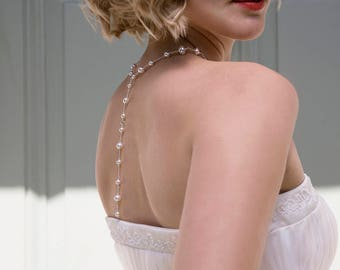 Back drop bridal necklace, back drop necklace, bridal backdrop necklace, pearl bridal jewelry - Juliet