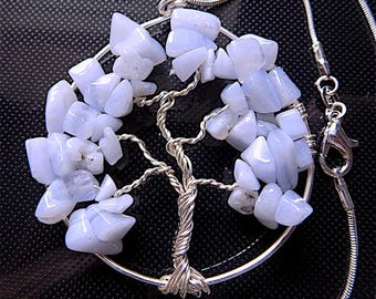 Chalcedony tree of life pendant necklace, gem stone chips on snake chain.