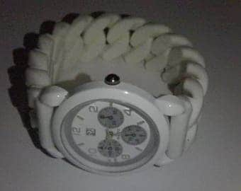 ny & co white rubber braided band watch