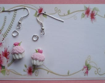 Strawberry whipped cream CUPCAKE earrings Kit and her little pink sweet
