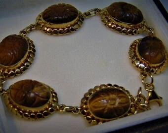 Fabulous Tigers Eye Golden Bracelet. Beautifully Designed by TEOH.
