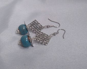 Silver earrings - blue square-
