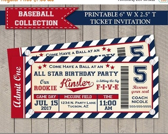 "SALE PERSONALIZED Basebal 6 x 2.5"" Ticket Style Printable Birthday Party Invitation / Red and Navy Blue / Baseball Collection / Item #910"